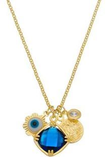 Colar Piuka Marisol Amuletos Olho Grego Pedra Quadrada Safira Folheado A Ouro18K - Feminino-Azul