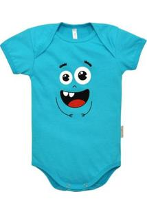 Body Manga Curta Bebê Nigambi Monstrinho Masculino - Masculino-Azul