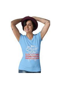 Camiseta Feminina Gola V Ezok Caution Sk8R Azul Claro