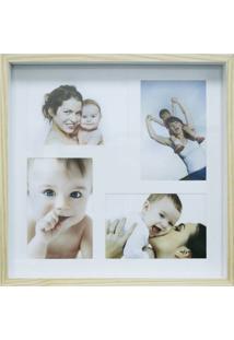 Quadro Para Fotos Wood Natural E Branco 30X30Cm