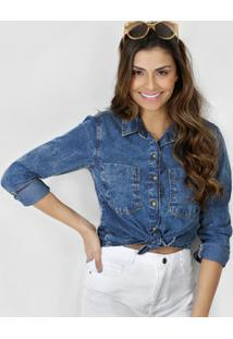 6da46f7f14 Camisa Feminina Jeans Marmorizada Marisa