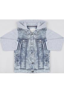Jaqueta Jeans Infantil Com Moletom Felpado E Capuz Azul Médio