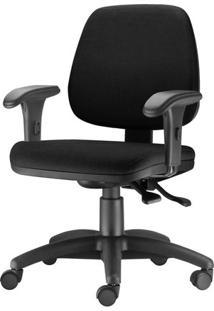Cadeira Job Com Bracos Curvados Assento Courino Base Rodizio Metalico Preto - 54586 Sun House