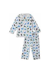 Pijama Moletom Infantil Babié Masculino Dinossauro Branco