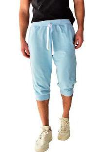 Bermuda Moletom Saruel Skinny Brohood Masculina - Masculino-Azul