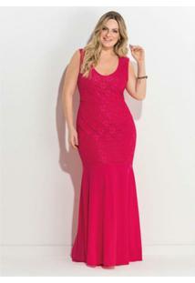 4326a1a1a Vestido Plus Size Longo Renda Quintess - Feminino-Pink