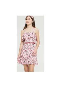 Vestido Juvenil Open Shoulder Estampa Floral Marisa