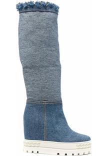 Casadei Bota Jeans Com Plataforma - Azul