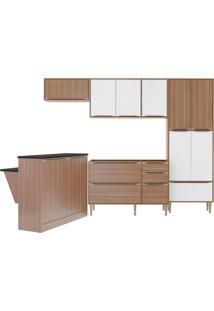 Cozinha Compacta Calábria 13 Portas 3 Gavetas Nogueira/Branco - Multimóveis