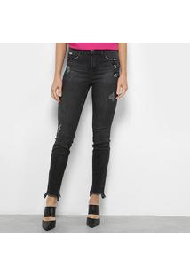 Calça Jeans Skinny Colcci Destroyed Com Bordado - Feminino-Preto