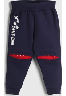 Calça Fakini Infantil Jogger Azul-Marinho/Vermelho