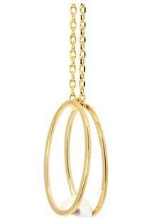 Colar Banho De Ouro Vazado 2 Aros Ovais Kumbayá Joias - Feminino-Dourado