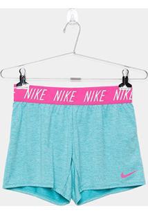 Short Infantil Nike G Dry Trophy Feminino - Feminino-Verde Claro+Rosa