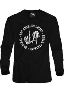 Casaco Moletom Skull Clothing Los Angeles Crims Masculino - Masculino-Preto