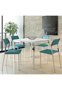 Conjunto Mesa 1525 Branca Com 4 Cadeiras 1709 Color Uv Turquesa Carraro