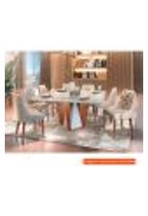 Conjunto De Mesa De Jantar Com 8 Cadeiras Belíssima Suede Liso Off White E Bege