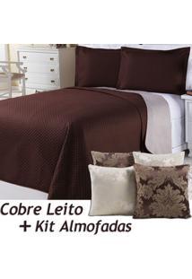 Kit Dourados Enxovais Cobre Leito C/ 4 Almofadas Cheias Dual Color Marrom/Bege Floral Dupla Face Queen 07 Peças
