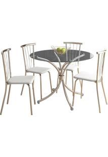 Conjunto De Mesa De Jantar Com 4 Cadeiras Chiphe E Brunelle Napa Branco
