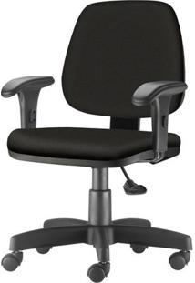 Cadeira Job Com Bracos Curvados Assento Fixo Courino Base Rodizio Metalico Preto - 54597 Sun House