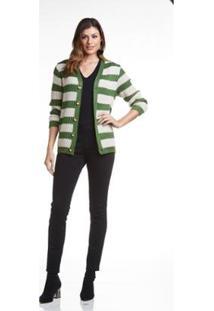 Casaco Listrado E Patch Woll Line Feminina - Feminino-Verde+Bege