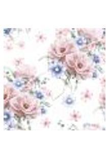 Papel De Parede De Flores Rosa E Azul 2,70X0,57M