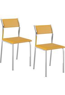 Kit Com 2 Cadeiras Sofia Cromada Napa Amarela - Carraro