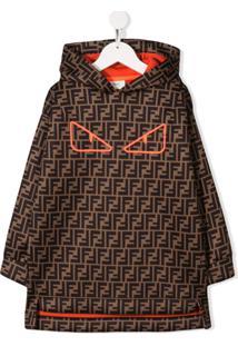 Fendi Kids Vestido Com Capuz E Logo - Marrom