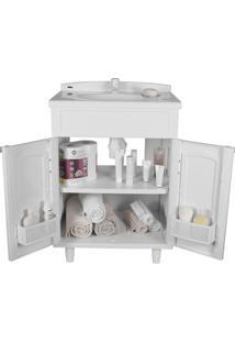 Gabinete Para Banheiro Em Plástico Com Lavatório Clássica Astra Sem Torneira Branco