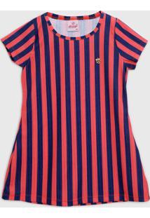 Vestido Abrange Infantil Listrado Laranja/Azul