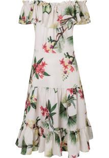 Vestido Mídi Linho Floral Isolda - Bege