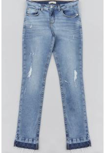 Calça Jeans Infantil Cigarrete Destroyed Azul Médio