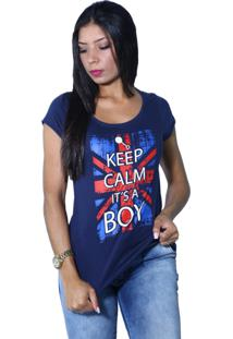 Camiseta Heide Ribeiro Keep Calm It'S A Boy Marinho