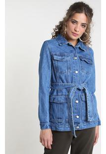 Jaqueta Jeans Feminina Longa Com Bolsos E Faixa Para Amarrar Azul Médio