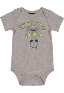 Body Bebê Menino Manga Curta Frases Cinza