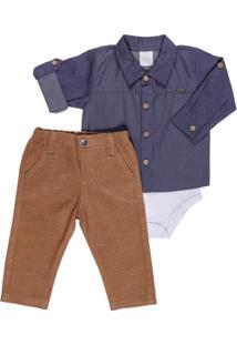 Body Longo E Calça Para Bebê Em Sarja Poá - Anjos Baby Chic