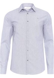 Camisa Masculina Regular Micro Listras - Cinza