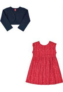 Vestido Com Bolero Infantil Vermelho