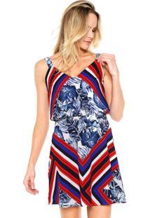 Vestido Morena Rosa Curto Tropical Azul/Vermelho