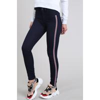 cd5c765be Calça Jeans Feminina Super Skinny Energy Jeans Com Faixas Laterais Azul  Escuro