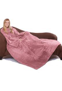 Cobertor Tv Com Mangas Microfibra 1,35X1,70M - Rose