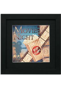 Quadro De Aviso Movie Night 36X36Cm Preto Kapos