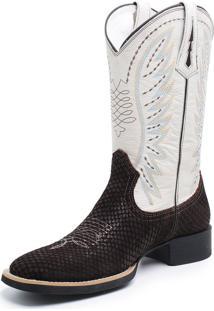 Bota Fidalgo Boots Country Tela Café Marfim