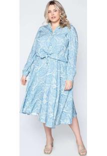 Camisa Almaria Plus Size Tal Qual Estampada Azul