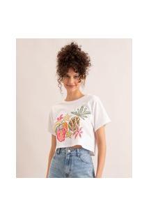 Camiseta Cropped De Algodão Frutas E Flores Manga Curta Decote Redondo Off White