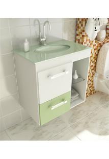 Gabinete Para Banheiro 60 Cm Com 2 Peças Linea 12 Branco E Verde Tomdo