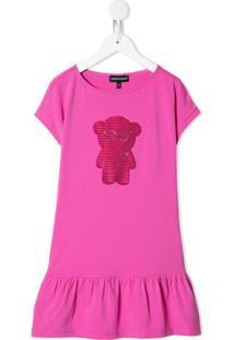 Emporio Armani Kids Vestido Com Urso De Bordado De Paetês - Rosa