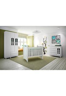 Dormitório Selena 03 Branco Brilho Carolina Baby
