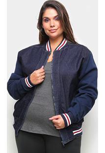 Jaqueta Jeans X-Charmy Plus Size Feminina - Feminino-Azul