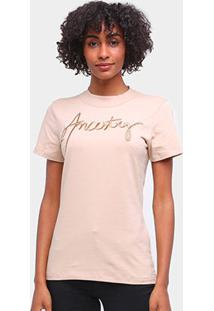 Camiseta Forum Básica Ancestry Feminina - Feminino-Bege