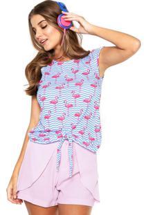 Camiseta Fiveblu Nó Azul/Rosa